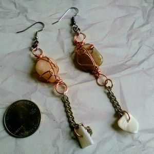 Handmade Stone & Chain Earrings, Beach Jewelry